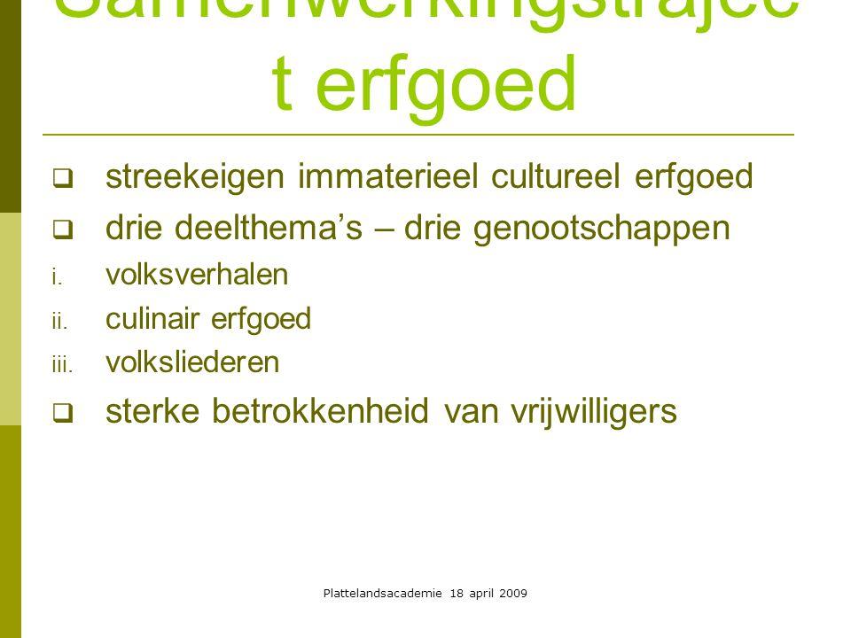 Plattelandsacademie 18 april 2009 Samenwerkingstrajec t erfgoed  doelstellingen van het traject  inventariseren  registreren  ontsluiten d.m.v.
