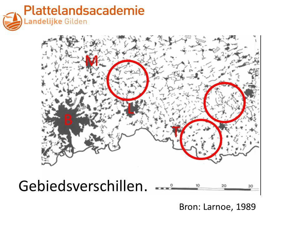 L B T M Gebiedsverschillen. Bron: Larnoe, 1989