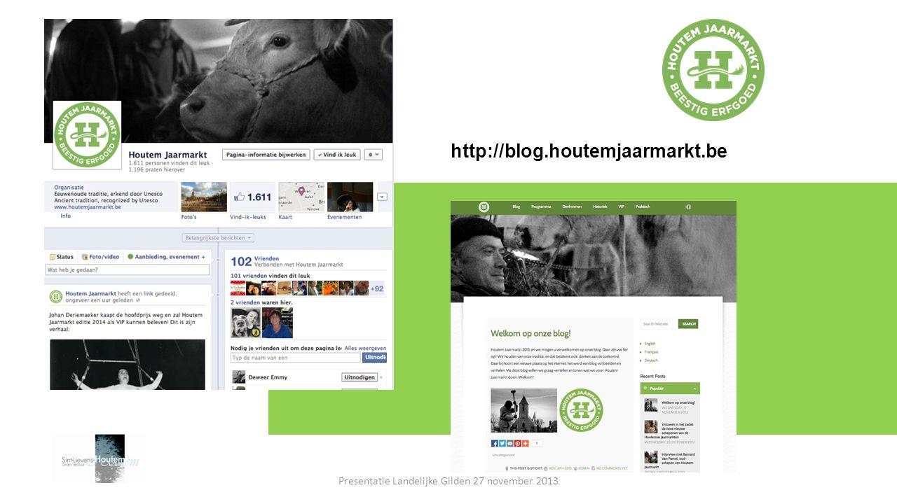 http://blog.houtemjaarmarkt.be Presentatie Landelijke Gilden 27 november 2013
