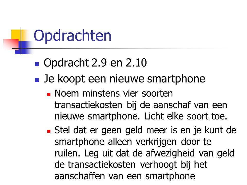 Opdrachten Opdracht 2.9 en 2.10 Je koopt een nieuwe smartphone Noem minstens vier soorten transactiekosten bij de aanschaf van een nieuwe smartphone.