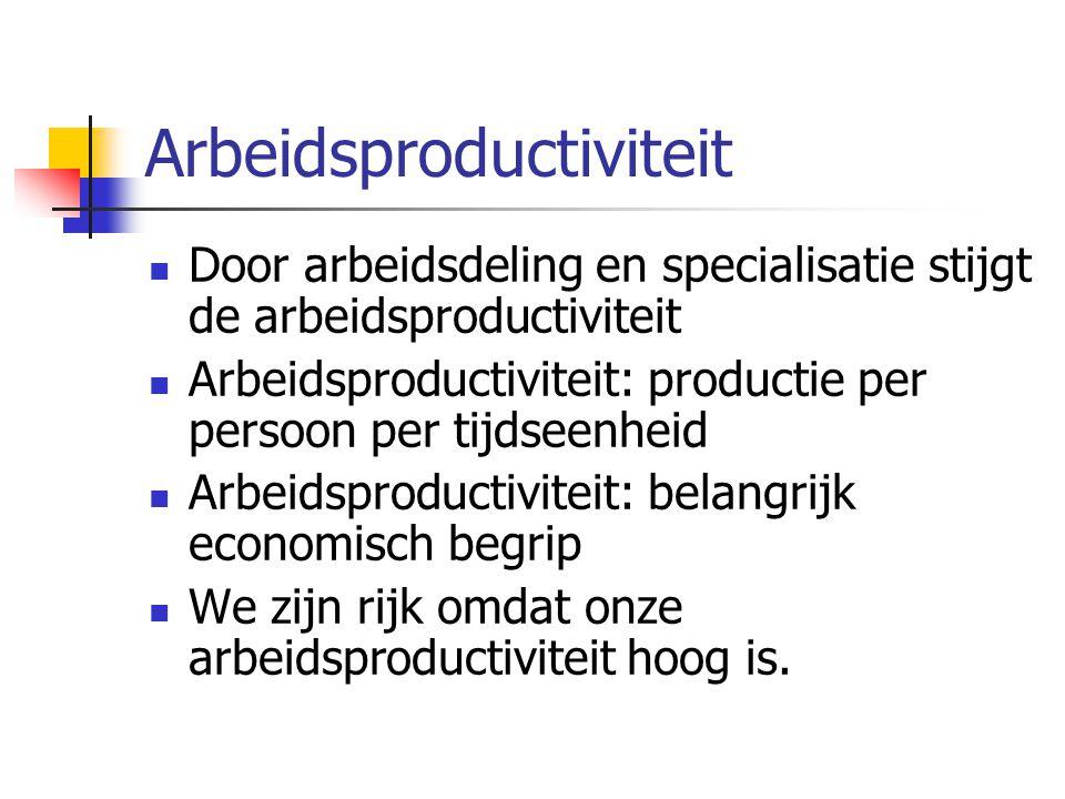 Arbeidsproductiviteit Door arbeidsdeling en specialisatie stijgt de arbeidsproductiviteit Arbeidsproductiviteit: productie per persoon per tijdseenhei