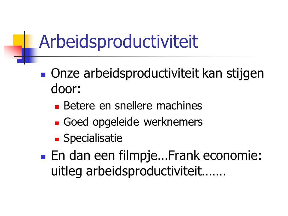 Arbeidsproductiviteit Onze arbeidsproductiviteit kan stijgen door: Betere en snellere machines Goed opgeleide werknemers Specialisatie En dan een film