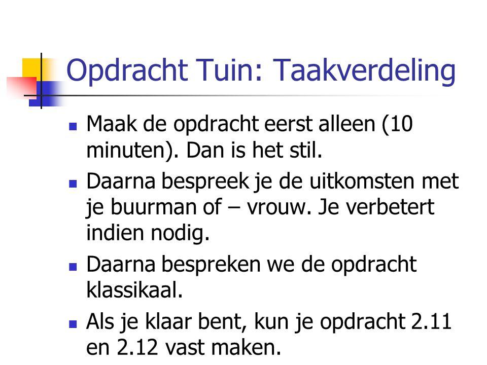 Opdracht Tuin: Taakverdeling Maak de opdracht eerst alleen (10 minuten). Dan is het stil. Daarna bespreek je de uitkomsten met je buurman of – vrouw.