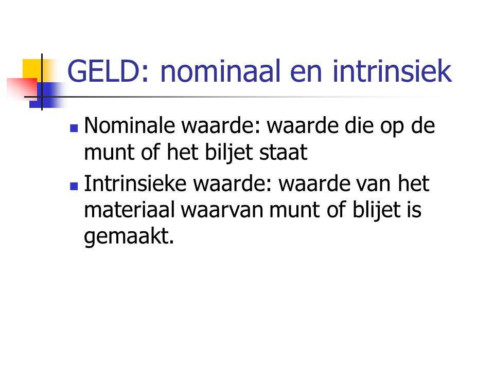 GELD: nominaal en intrinsiek Nominale waarde: waarde die op de munt of het biljet staat Intrinsieke waarde: waarde van het materiaal waarvan munt of b
