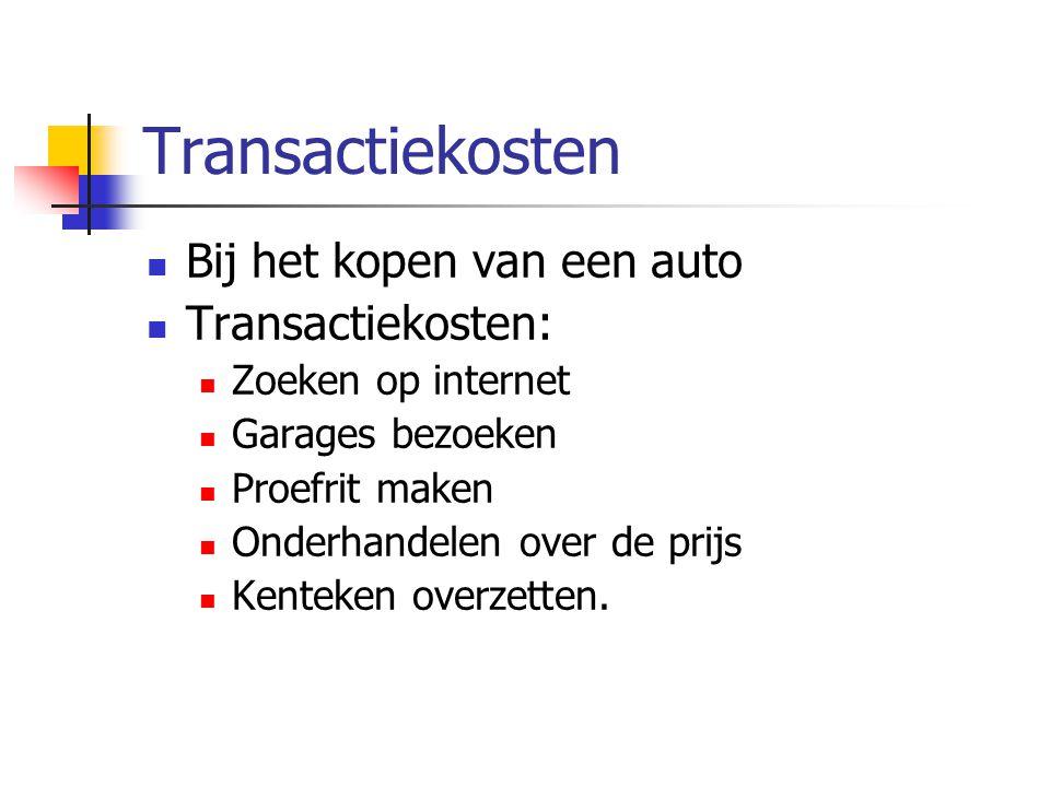 Transactiekosten Bij het kopen van een auto Transactiekosten: Zoeken op internet Garages bezoeken Proefrit maken Onderhandelen over de prijs Kenteken