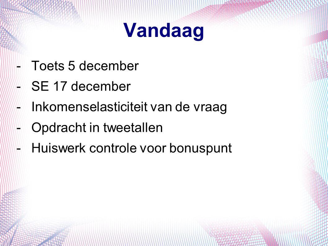 Vandaag -Toets 5 december -SE 17 december -Inkomenselasticiteit van de vraag -Opdracht in tweetallen -Huiswerk controle voor bonuspunt