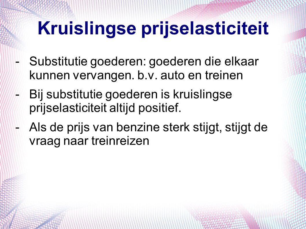 Kruislingse prijselasticiteit -Substitutie goederen: goederen die elkaar kunnen vervangen. b.v. auto en treinen -Bij substitutie goederen is kruisling