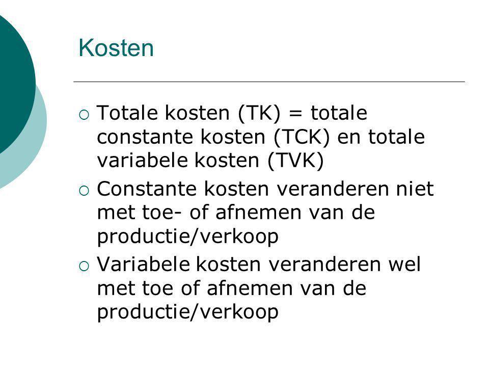 Kosten  Totale kosten (TK) = totale constante kosten (TCK) en totale variabele kosten (TVK)  Constante kosten veranderen niet met toe- of afnemen va