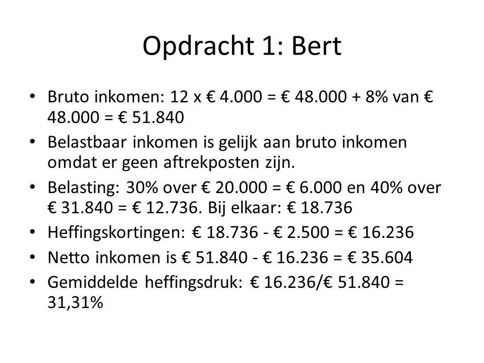 Opdracht 1 Bereken netto inkomen van Bert en Benno.