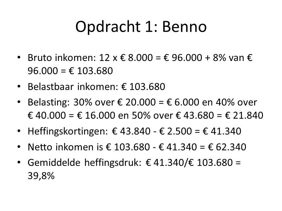 Opdracht 1: Bert Bruto inkomen: 12 x € 4.000 = € 48.000 + 8% van € 48.000 = € 51.840 Belastbaar inkomen is gelijk aan bruto inkomen omdat er geen aftrekposten zijn.