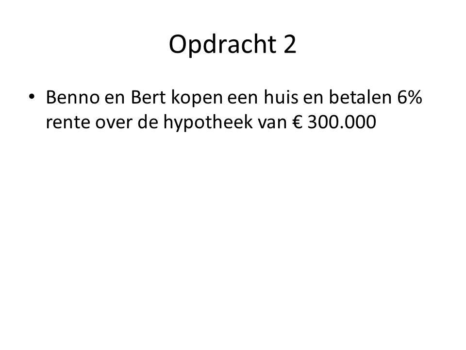 Opdracht 1: Benno Bruto inkomen: 12 x € 8.000 = € 96.000 + 8% van € 96.000 = € 103.680 Belastbaar inkomen: € 103.680 Belasting: 30% over € 20.000 = € 6.000 en 40% over € 40.000 = € 16.000 en 50% over € 43.680 = € 21.840 Heffingskortingen: € 43.840 - € 2.500 = € 41.340 Netto inkomen is € 103.680 - € 41.340 = € 62.340 Gemiddelde heffingsdruk: € 41.340/€ 103.680 = 39,8%