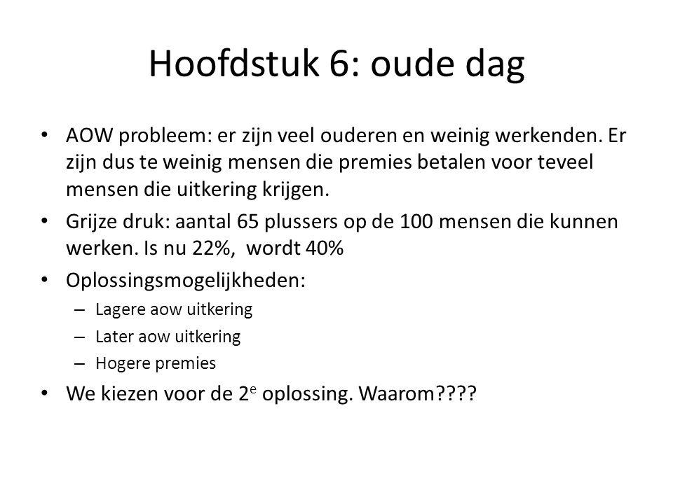 Hoofdstuk 6: oude dag AOW: algemene ouderdomswet Vanaf jaren 50 (trekken van Drees) AOW rechten worden opgebouwd tussen je 15 en 65 e : 2% van de totale uitkering voor elk jaar dat je in Nederland woont.