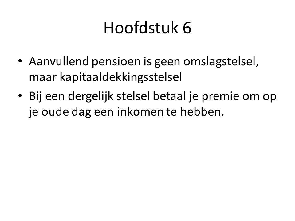 Hoofdstuk 6 Aanvullend bedrijfspensioen (boven op aow) Meeste Nederlanders betalen verplicht pensioenpremie voor een aanvullende pensioen voor later Premies gaan naar pensioenfondsen.