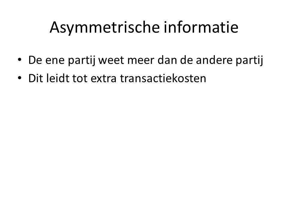 Hoofdstuk 3 Transactiekosten: tijd en geld die het kost om een transactie (ruil) tot stand te brengen.