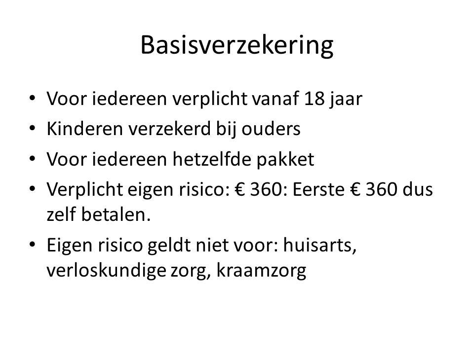 Basisverzekering Voor iedereen verplicht vanaf 18 jaar Kinderen verzekerd bij ouders Voor iedereen hetzelfde pakket Verplicht eigen risico: € 360: Eerste € 360 dus zelf betalen.