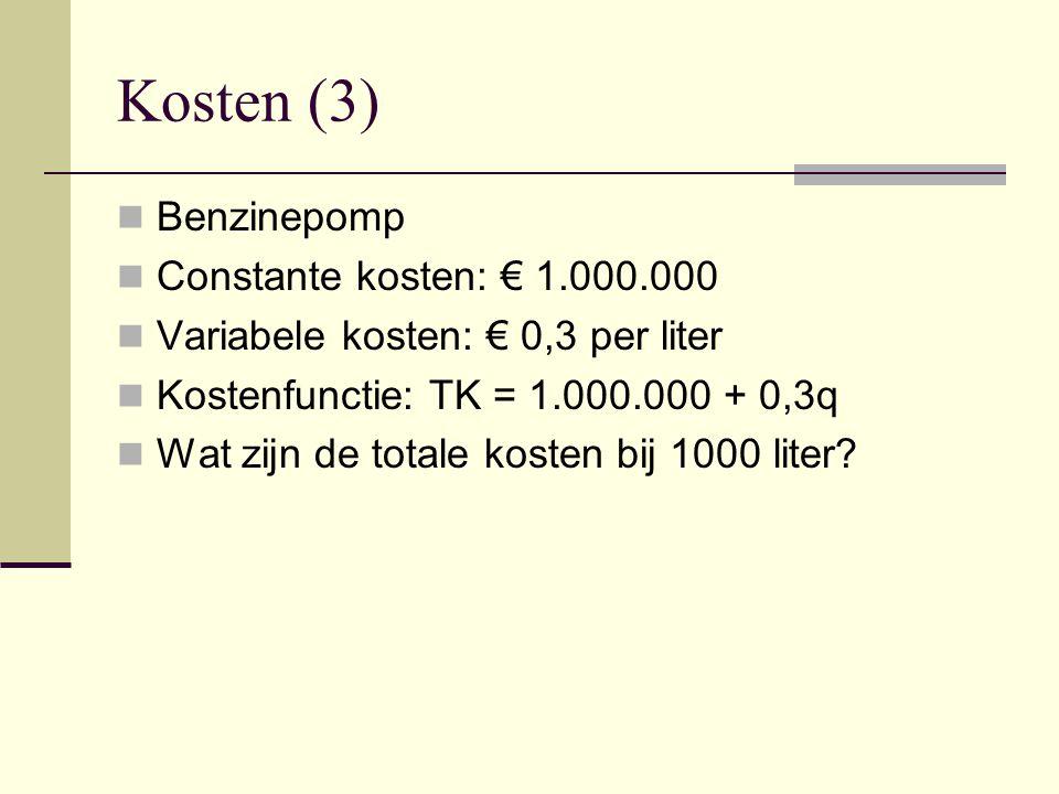 Kosten (3) Benzinepomp Constante kosten: € 1.000.000 Variabele kosten: € 0,3 per liter Kostenfunctie: TK = 1.000.000 + 0,3q Wat zijn de totale kosten