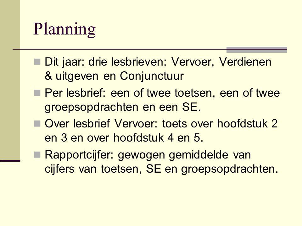 Planning Dit jaar: drie lesbrieven: Vervoer, Verdienen & uitgeven en Conjunctuur Per lesbrief: een of twee toetsen, een of twee groepsopdrachten en ee