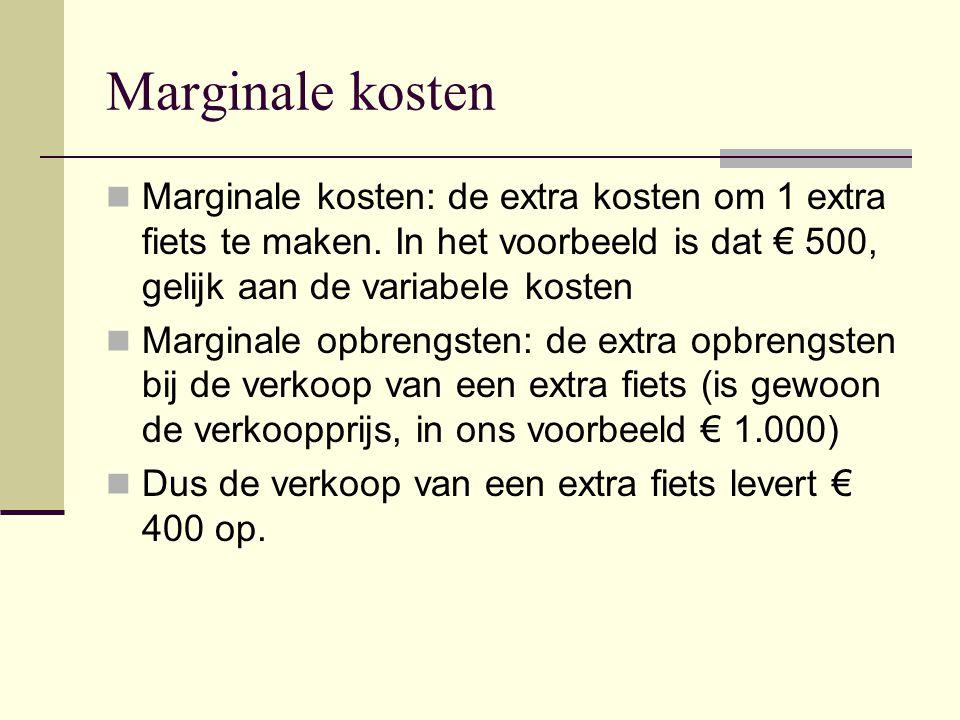 Marginale kosten Marginale kosten: de extra kosten om 1 extra fiets te maken. In het voorbeeld is dat € 500, gelijk aan de variabele kosten Marginale