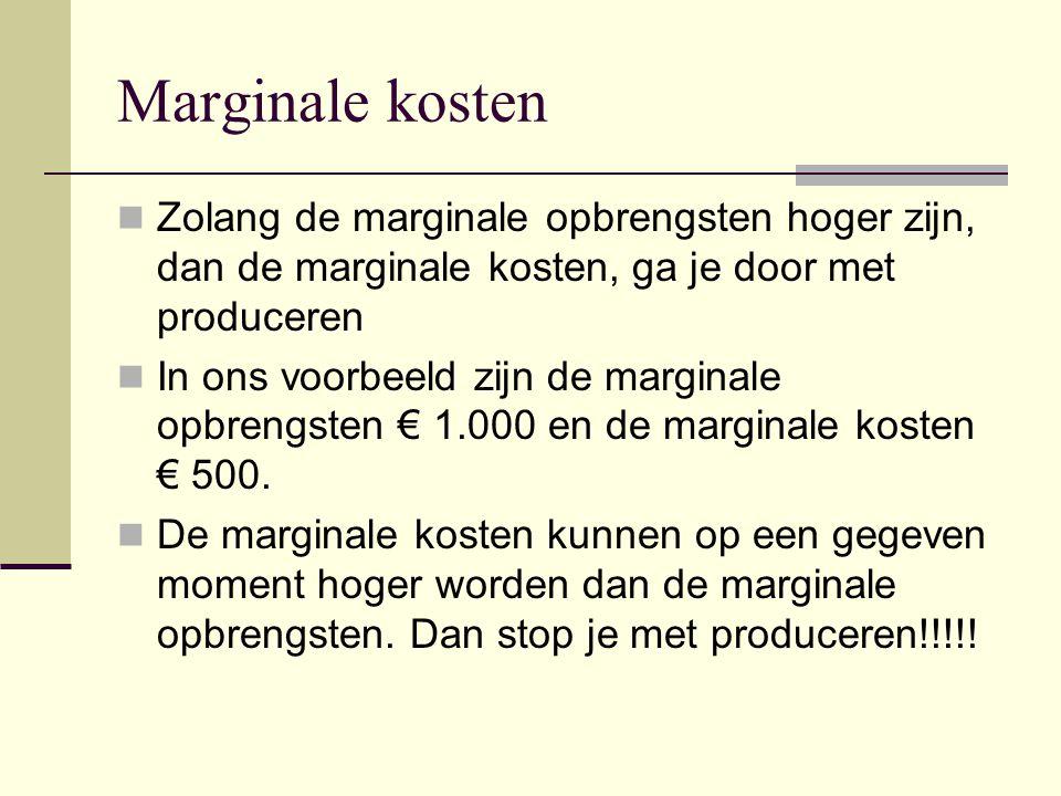 Marginale kosten Zolang de marginale opbrengsten hoger zijn, dan de marginale kosten, ga je door met produceren In ons voorbeeld zijn de marginale opb