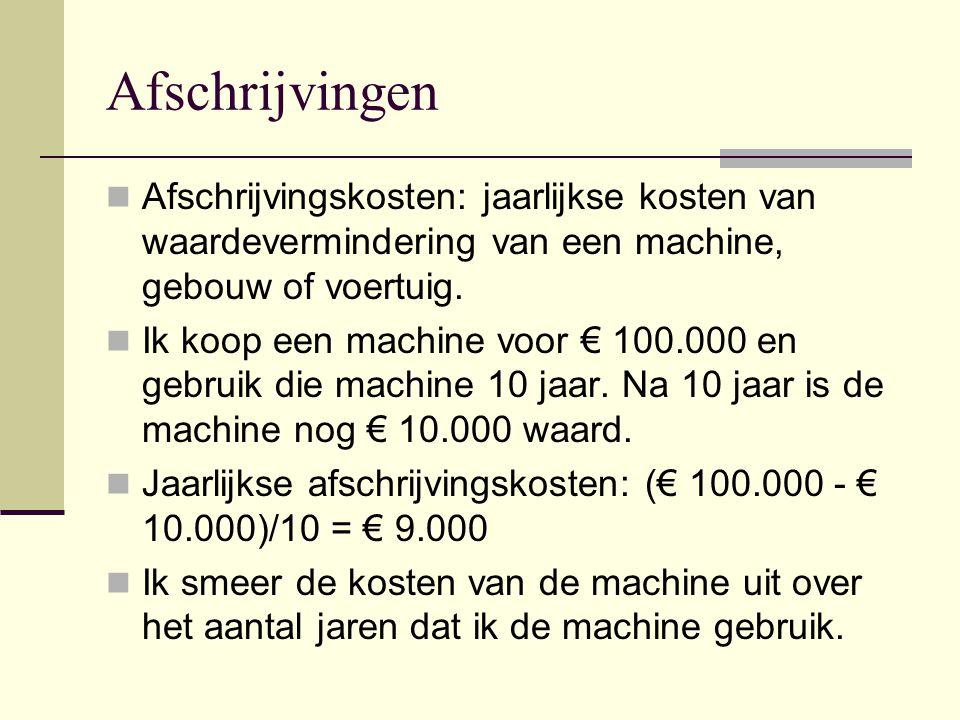Afschrijvingen Afschrijvingskosten: jaarlijkse kosten van waardevermindering van een machine, gebouw of voertuig. Ik koop een machine voor € 100.000 e