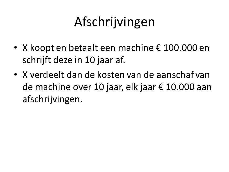 Afschrijvingen X koopt en betaalt een machine € 100.000 en schrijft deze in 10 jaar af. X verdeelt dan de kosten van de aanschaf van de machine over 1
