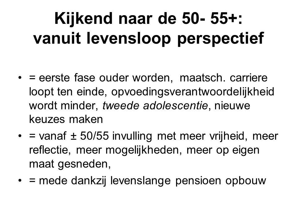Kijkend naar de 50- 55+: vanuit levensloop perspectief = eerste fase ouder worden, maatsch. carriere loopt ten einde, opvoedingsverantwoordelijkheid w