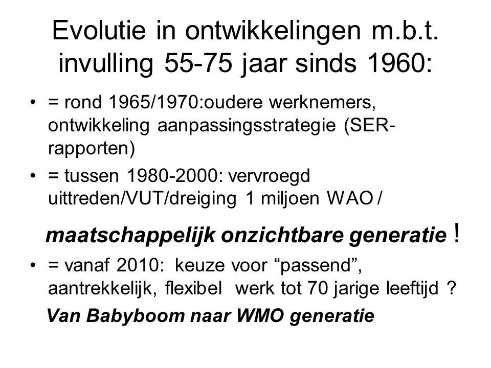 Evolutie in ontwikkelingen m.b.t. invulling 55-75 jaar sinds 1960: = rond 1965/1970:oudere werknemers, ontwikkeling aanpassingsstrategie (SER- rapport