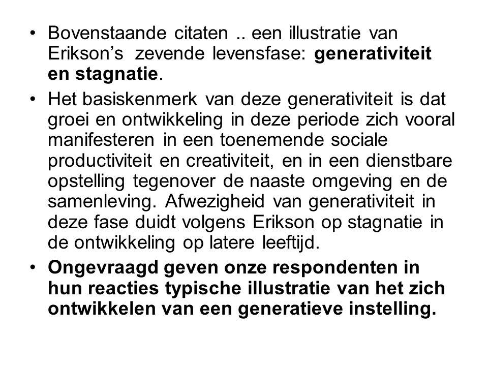 Bovenstaande citaten.. een illustratie van Erikson's zevende levensfase: generativiteit en stagnatie. Het basiskenmerk van deze generativiteit is dat
