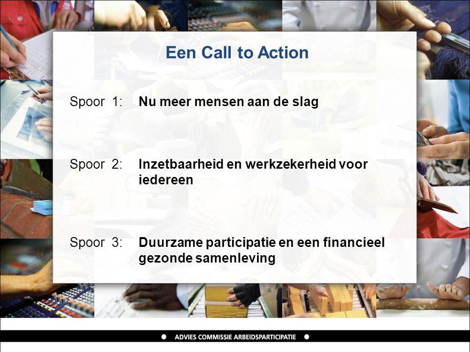 Een Call to Action Spoor 1: Nu meer mensen aan de slag Spoor 2: Inzetbaarheid en werkzekerheid voor iedereen Spoor 3: Duurzame participatie en een financieel gezonde samenleving