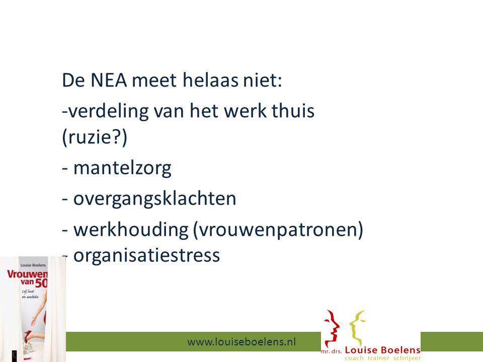 De NEA meet helaas niet: -verdeling van het werk thuis (ruzie ) - mantelzorg - overgangsklachten - werkhouding (vrouwenpatronen) - organisatiestress 13-9-2014 www.louiseboelens.nl