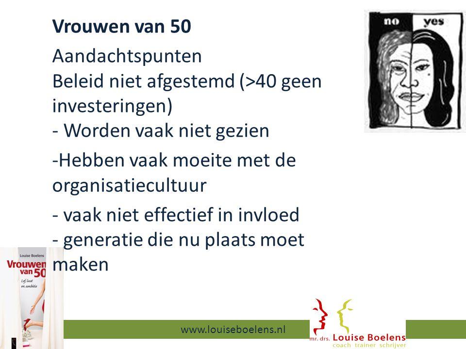 13-9-2014 www.louiseboelens.nl Vrouwen van 50 Aandachtspunten Beleid niet afgestemd (>40 geen investeringen) - Worden vaak niet gezien -Hebben vaak moeite met de organisatiecultuur - vaak niet effectief in invloed - generatie die nu plaats moet maken