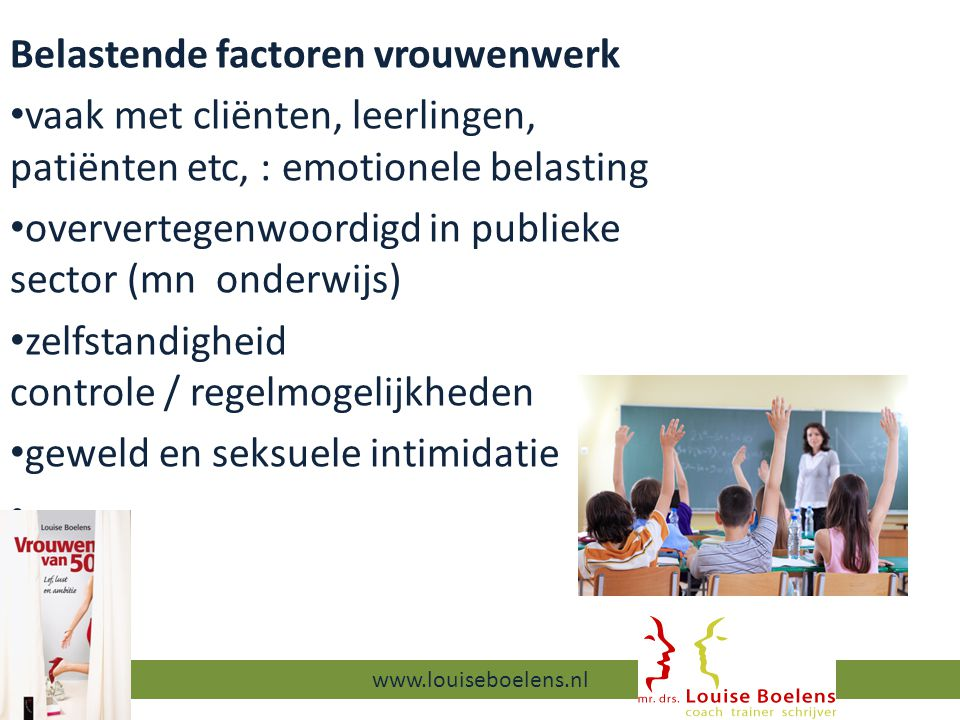 Belastende factoren vrouwenwerk vaak met cliënten, leerlingen, patiënten etc, : emotionele belasting oververtegenwoordigd in publieke sector (mn onderwijs) zelfstandigheid controle / regelmogelijkheden geweld en seksuele intimidatie 13-9-2014 www.louiseboelens.nl