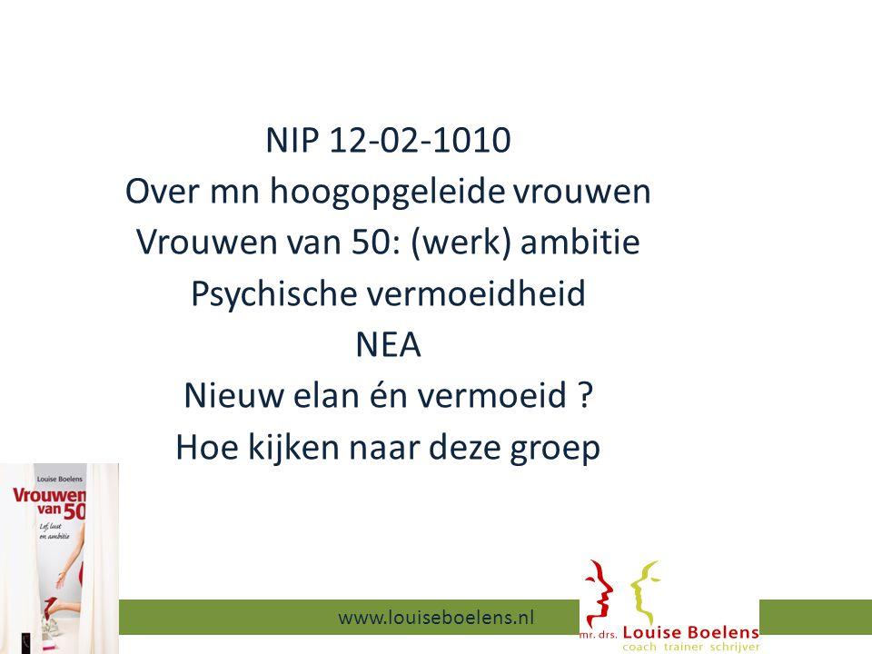 NIP 12-02-1010 Over mn hoogopgeleide vrouwen Vrouwen van 50: (werk) ambitie Psychische vermoeidheid NEA Nieuw elan én vermoeid .