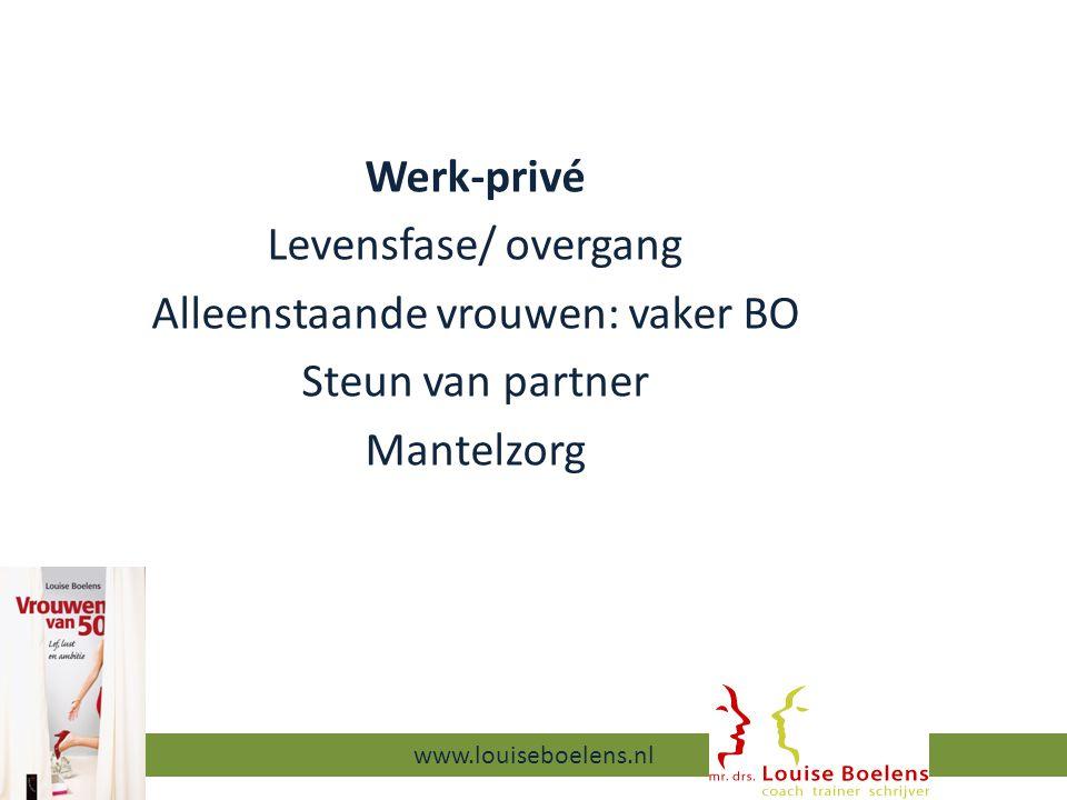 Werk-privé Levensfase/ overgang Alleenstaande vrouwen: vaker BO Steun van partner Mantelzorg 13-9-2014 www.louiseboelens.nl