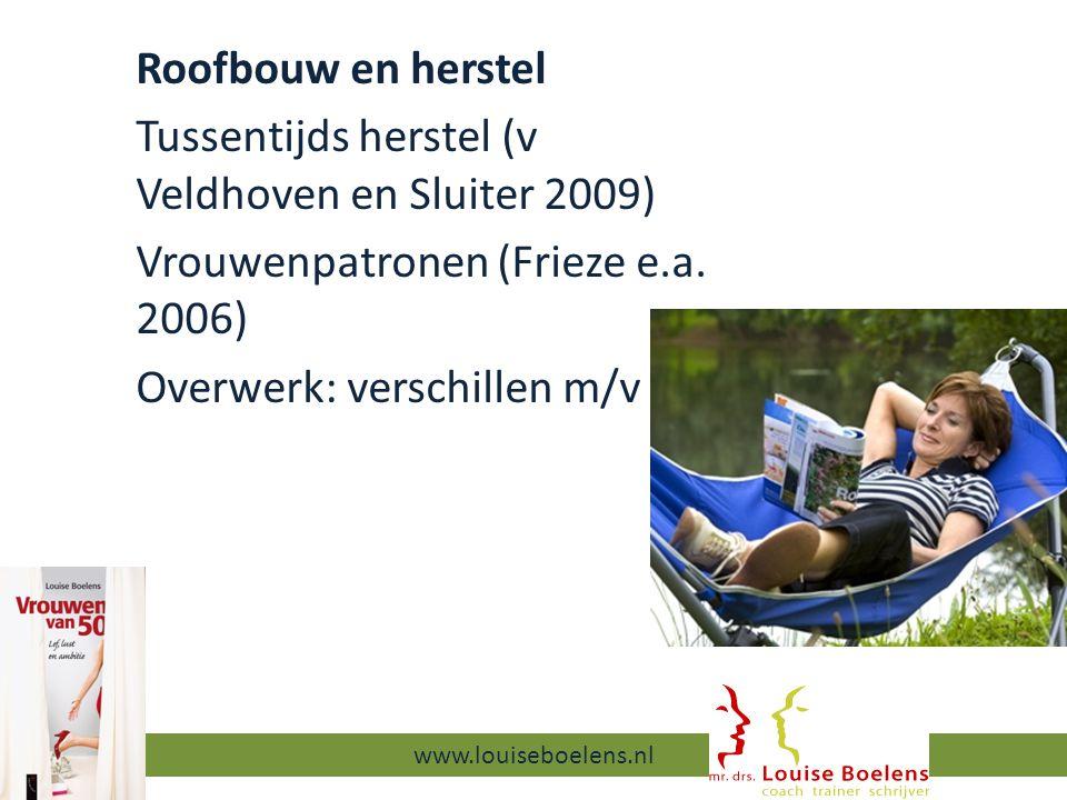 Roofbouw en herstel Tussentijds herstel (v Veldhoven en Sluiter 2009) Vrouwenpatronen (Frieze e.a.