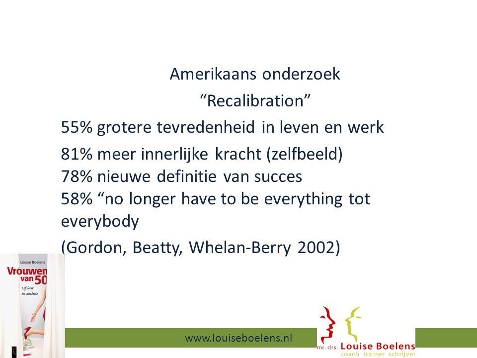 Amerikaans onderzoek Recalibration 55% grotere tevredenheid in leven en werk 81% meer innerlijke kracht (zelfbeeld) 78% nieuwe definitie van succes 58% no longer have to be everything tot everybody (Gordon, Beatty, Whelan-Berry 2002) 13-9-2014 www.louiseboelens.nl
