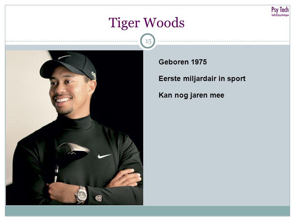 15 Tiger Woods 15 Geboren 1975 Eerste miljardair in sport Kan nog jaren mee