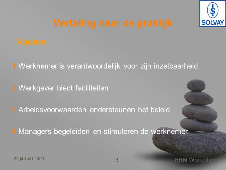 HRM Workplace 15 22 januari 2010 Vertaling naar de praktijk Kaders 1.Werknemer is verantwoordelijk voor zijn inzetbaarheid 2.Werkgever biedt faciliteiten 3.Arbeidsvoorwaarden ondersteunen het beleid 4.Managers begeleiden en stimuleren de werknemer