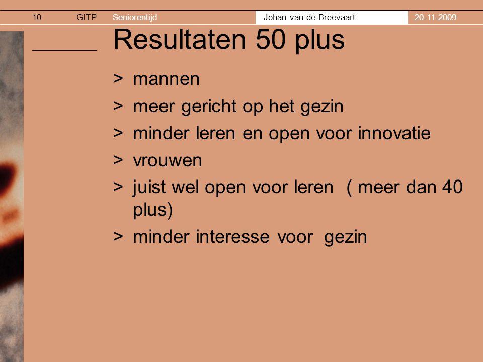 GITPSeniorentijd Johan van de Breevaart 20-11-200910 Resultaten 50 plus >mannen >meer gericht op het gezin >minder leren en open voor innovatie >vrouw