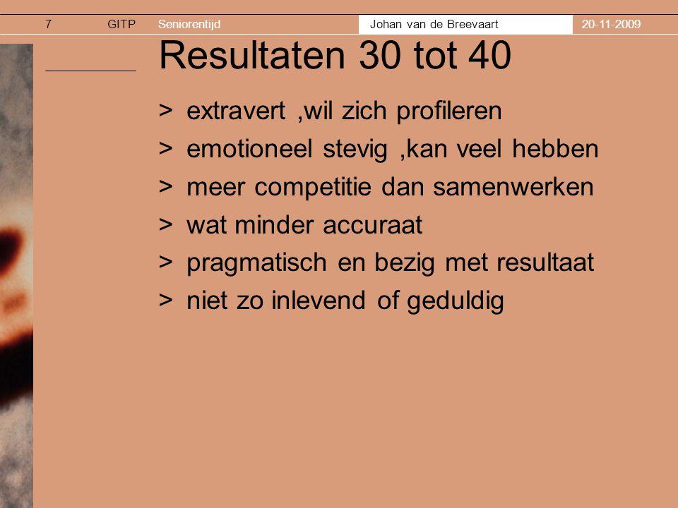 GITPSeniorentijd Johan van de Breevaart 20-11-20098 Resultaten 40 tot 50 >soms nog bij 30 plus en soms bij de 50 plus >van extrinsieke motivatie naar intrinsiek ( Wat wil ik zelf/ zingeving ) >kan wat meer relativeren dan 30 plus >samenwerken