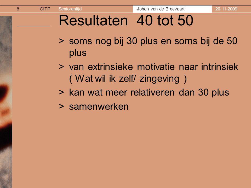 GITPSeniorentijd Johan van de Breevaart 20-11-20099 Resultaten 50 plus >van toegevoegde waarde zijn >wat minder emotioneel stevig/gevoeliger voor kritiek >kwaliteit blijft van belang /sterk arbeidsethos >minder ambitie en meer samen optrekken