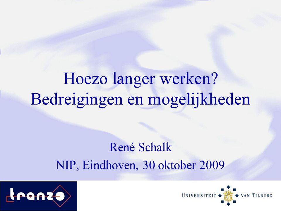 Hoezo langer werken? Bedreigingen en mogelijkheden René Schalk NIP, Eindhoven, 30 oktober 2009