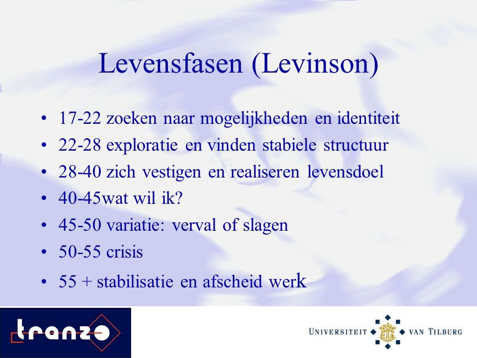 Levensfasen (Levinson) 17-22 zoeken naar mogelijkheden en identiteit 22-28 exploratie en vinden stabiele structuur 28-40 zich vestigen en realiseren l