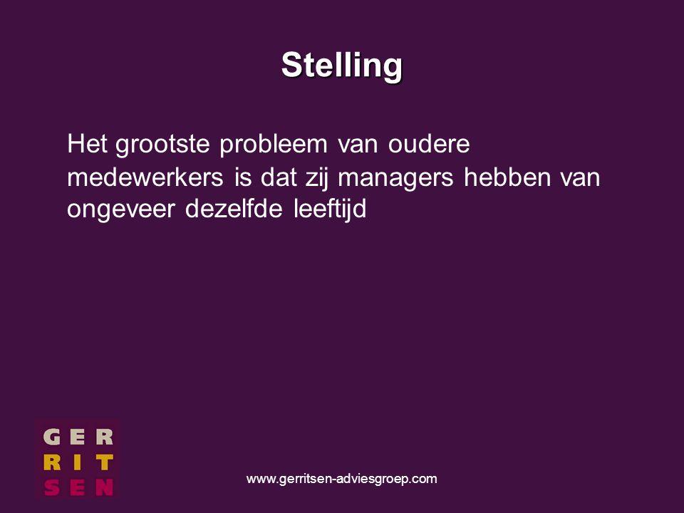 www.gerritsen-adviesgroep.com Stelling Het grootste probleem van oudere medewerkers is dat zij managers hebben van ongeveer dezelfde leeftijd