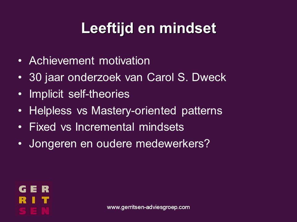 www.gerritsen-adviesgroep.com Leeftijd en mindset Achievement motivation 30 jaar onderzoek van Carol S.