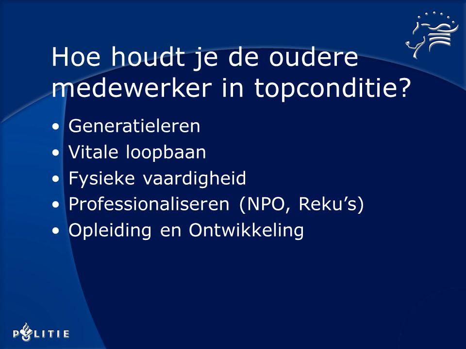 Generatieleren Vitale loopbaan Fysieke vaardigheid Professionaliseren (NPO, Reku's) Opleiding en Ontwikkeling Hoe houdt je de oudere medewerker in topconditie?