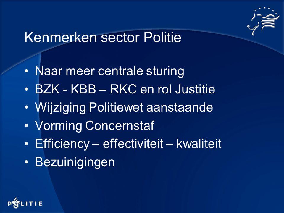 Kenmerken sector Politie Naar meer centrale sturing BZK - KBB – RKC en rol Justitie Wijziging Politiewet aanstaande Vorming Concernstaf Efficiency – effectiviteit – kwaliteit Bezuinigingen