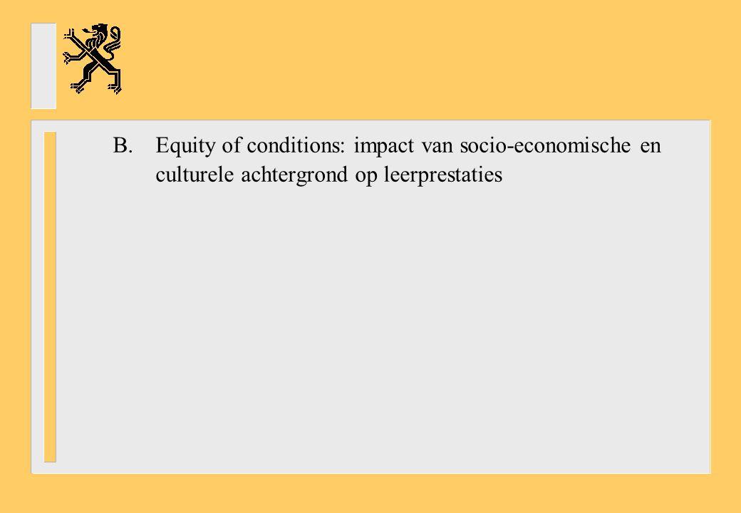 B. Equity of conditions: impact van socio-economische en culturele achtergrond op leerprestaties