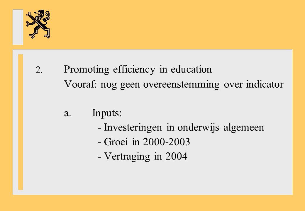 2. Promoting efficiency in education Vooraf: nog geen overeenstemming over indicator a.Inputs: - Investeringen in onderwijs algemeen - Groei in 2000-2