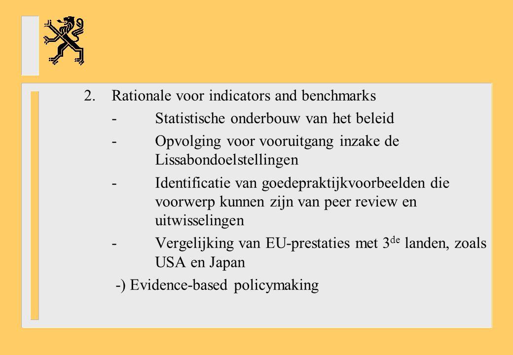 2.Rationale voor indicators and benchmarks -Statistische onderbouw van het beleid -Opvolging voor vooruitgang inzake de Lissabondoelstellingen -Identificatie van goedepraktijkvoorbeelden die voorwerp kunnen zijn van peer review en uitwisselingen -Vergelijking van EU-prestaties met 3 de landen, zoals USA en Japan -) Evidence-based policymaking